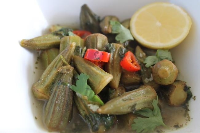 Lemony Okra with Garlic and Coriander