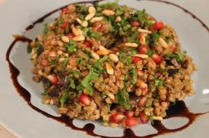 Warm Freekeh Eggplant Salad