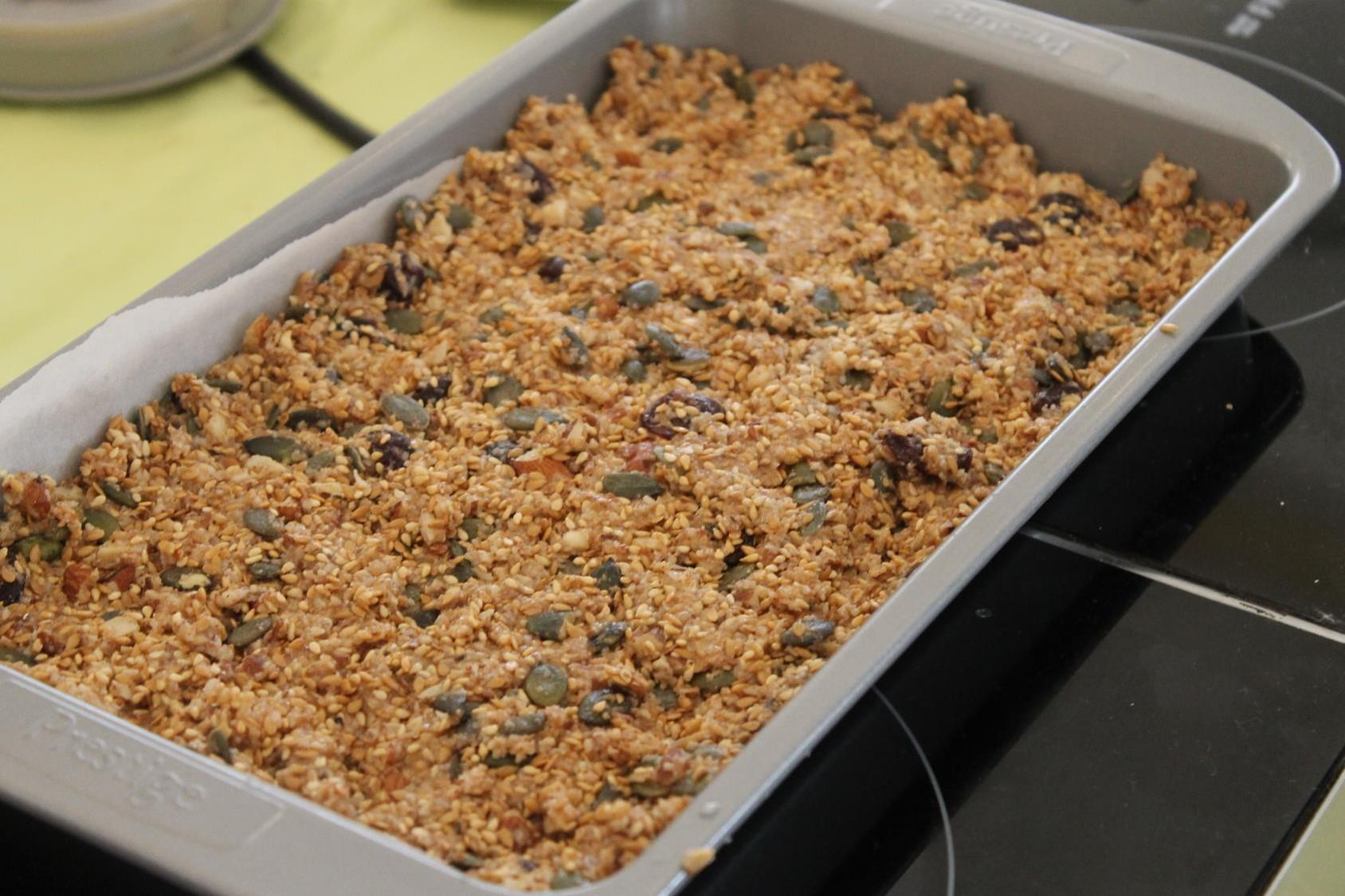 granola bar before oven