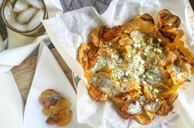 Baked Chips with Blue Cheese Topping
