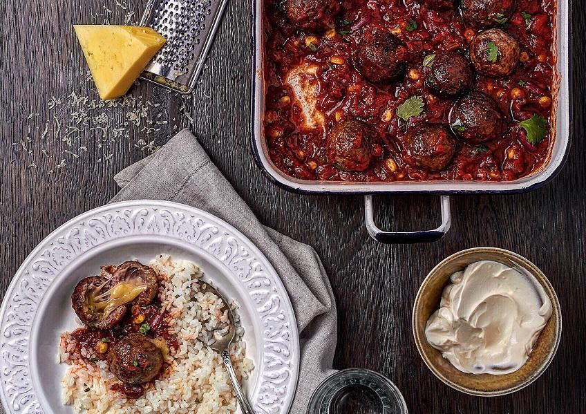 Cheese-Stuffed Meatballs in Mexican Chili Con Carne