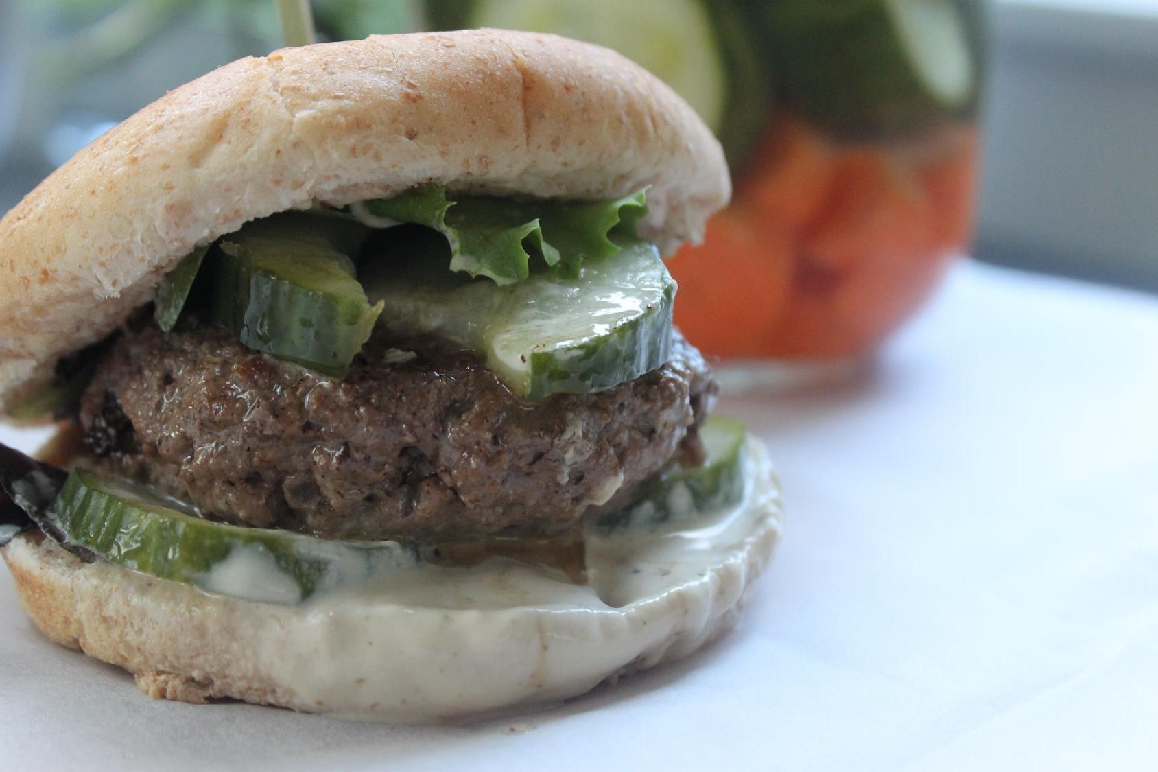 Succulent Beef Burger with Tahini