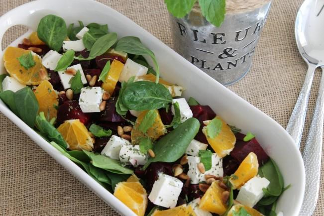 zesty fresh spinach and beetroot salad