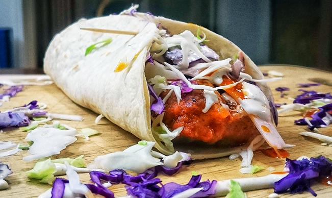 Boneless Wings and Blue-Cheese-Ranch Slaw Burrito