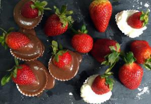 Strawberries Dipped in Chocolate & Icing