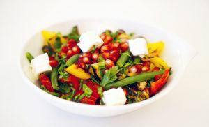 Grilled Veggies & Goat Cheese Salad with Pomegranate Dressing