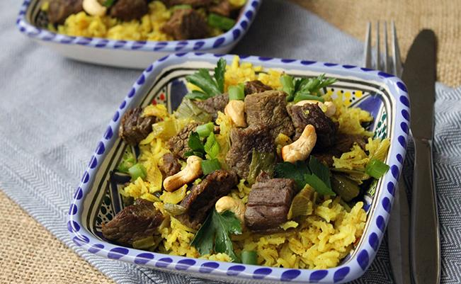 Spiced Rice with Beef & Spring Onions