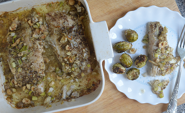 Baked Fish Fillet with Dukka & Hazelnuts