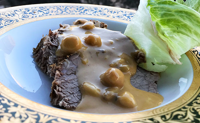 Roast Beef with Almond, Hazel & Pine Nuts Sauce