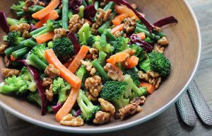 Broccoli Salad with Honey-Glazed Walnuts