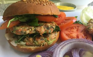 Veggie-Filled Chicken Burger
