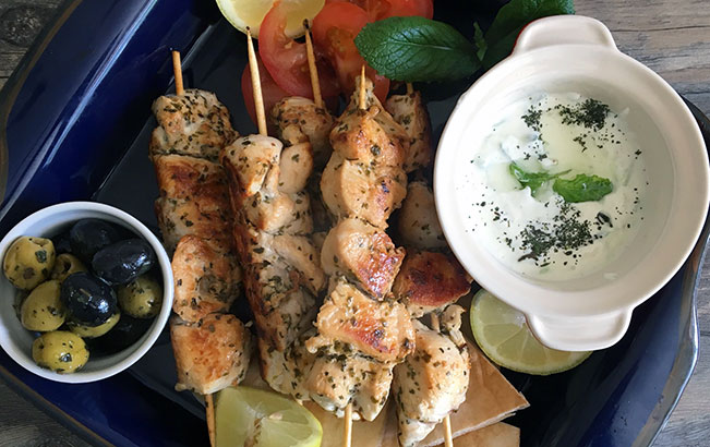 Greek Chicken Souvlaki & Tzatziki