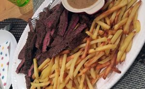 Steak Frites with Mustard Sauce