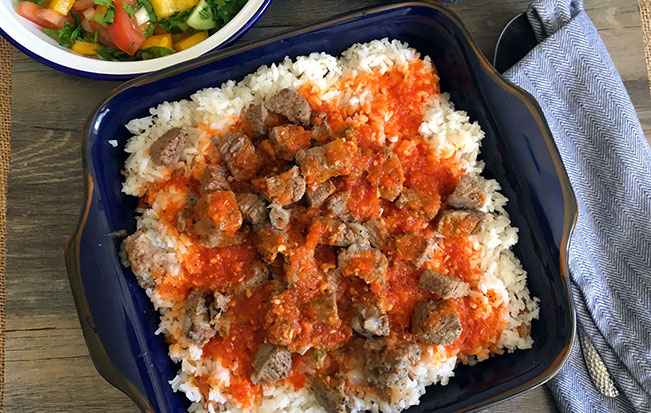 Egyptian Fatta with Beef Cubes