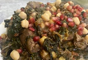 Chicken Liver with Spinach & Chickpeas